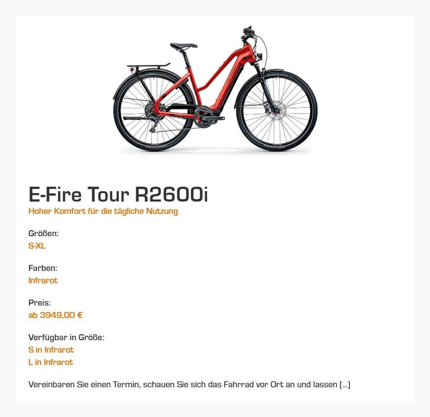 Cycle-M Website digitales Schaufenster