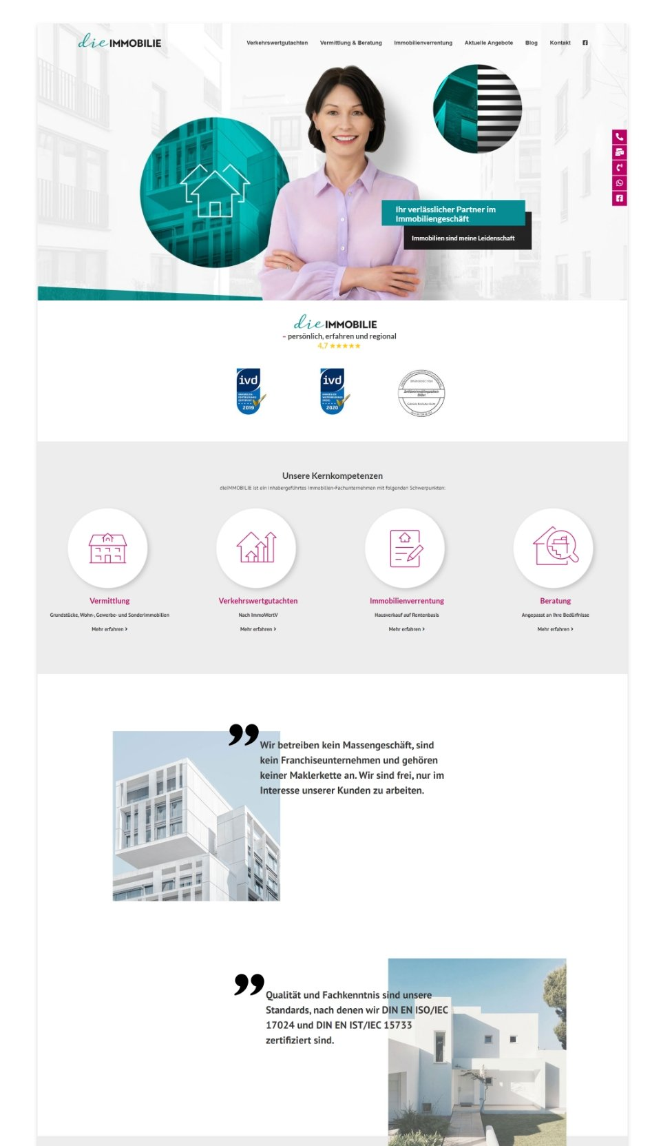Webdesign dieImmobilie Homepage