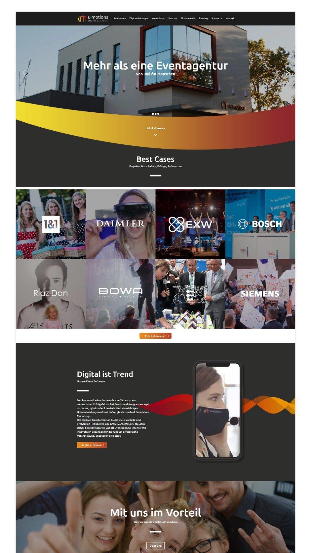 Webdesign Event-Homepage u-motions